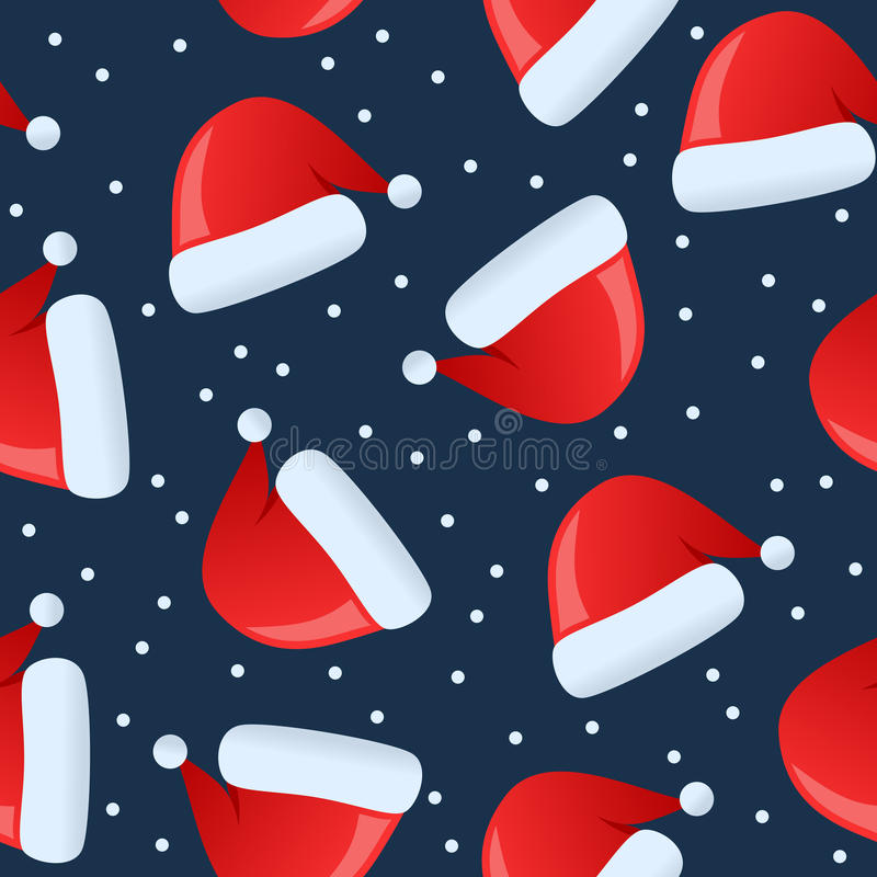 Christmas Santa Claus Hat Seamless. A seamless Christmas pattern with a santa claus red hat, isolated on blue background. Useful also as design element for stock illustration