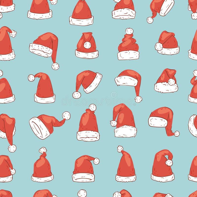 Christmas Santa Claus hat vector noel isolated illustration New Year Christians Xmas party design decoration hats stock illustration