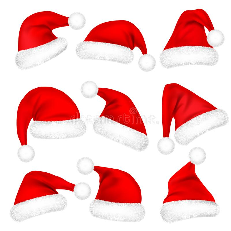 Christmas Santa Claus Hats With Fur Set. New Year Red Hat Isolated on White Background. Winter Cap. Vector illustration. vector illustration
