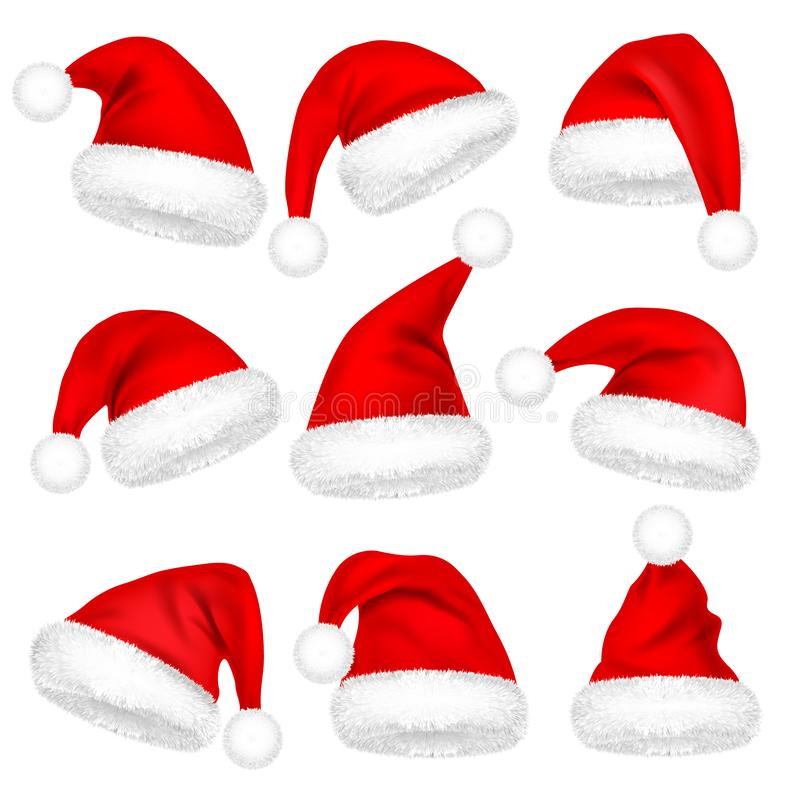 Christmas Santa Claus Hats With Fur Set. New Year Red Hat Isolated on White Background. Winter Cap. Vector illustration. royalty free illustration