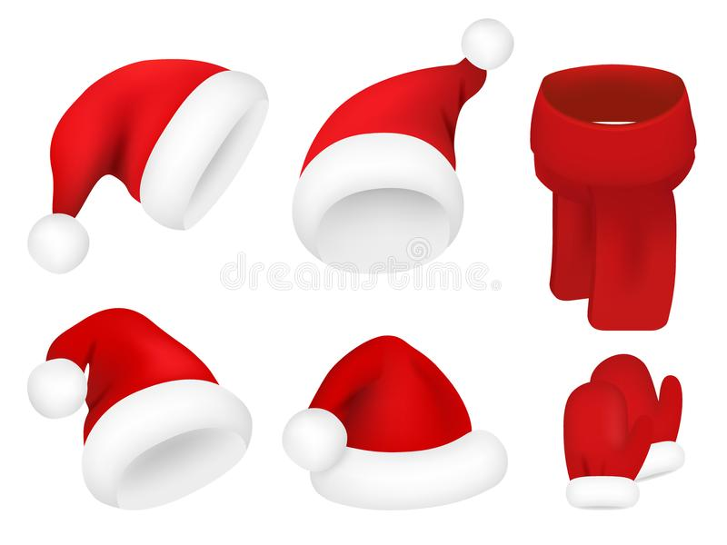 Christmas santa claus hats set. New year red hat isolated on white background. Vector illustration. vector illustration