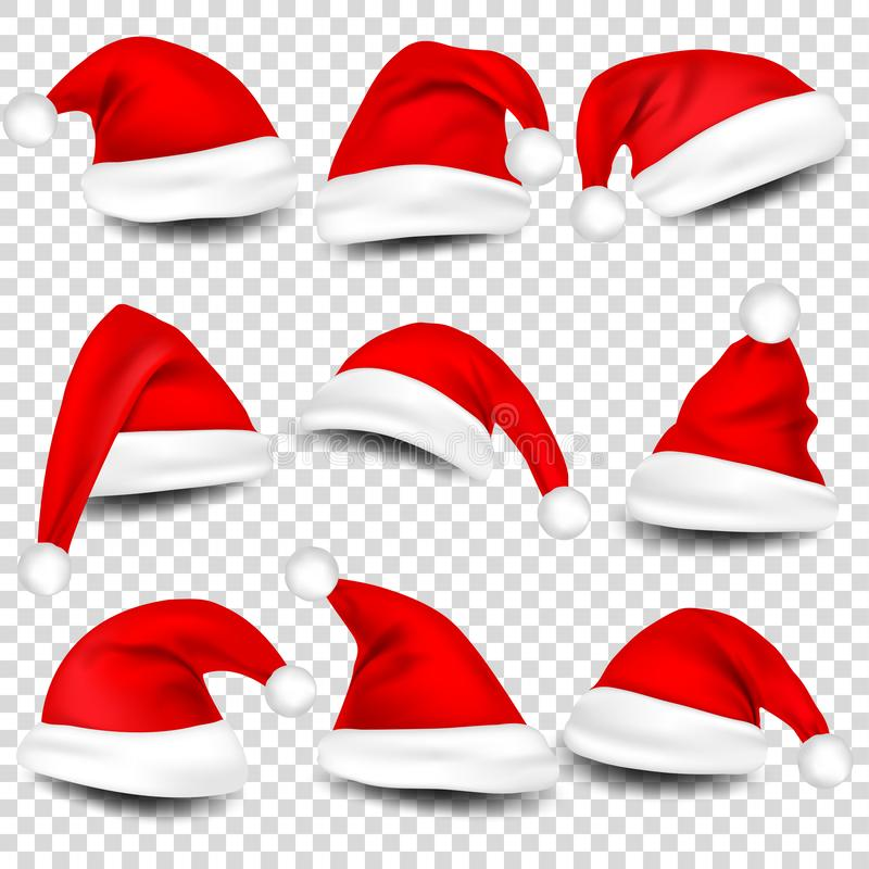 Christmas Santa Claus Hats With Shadow Set. New Year Red Hat Isolated on Transparent Background. Vector illustration. vector illustration