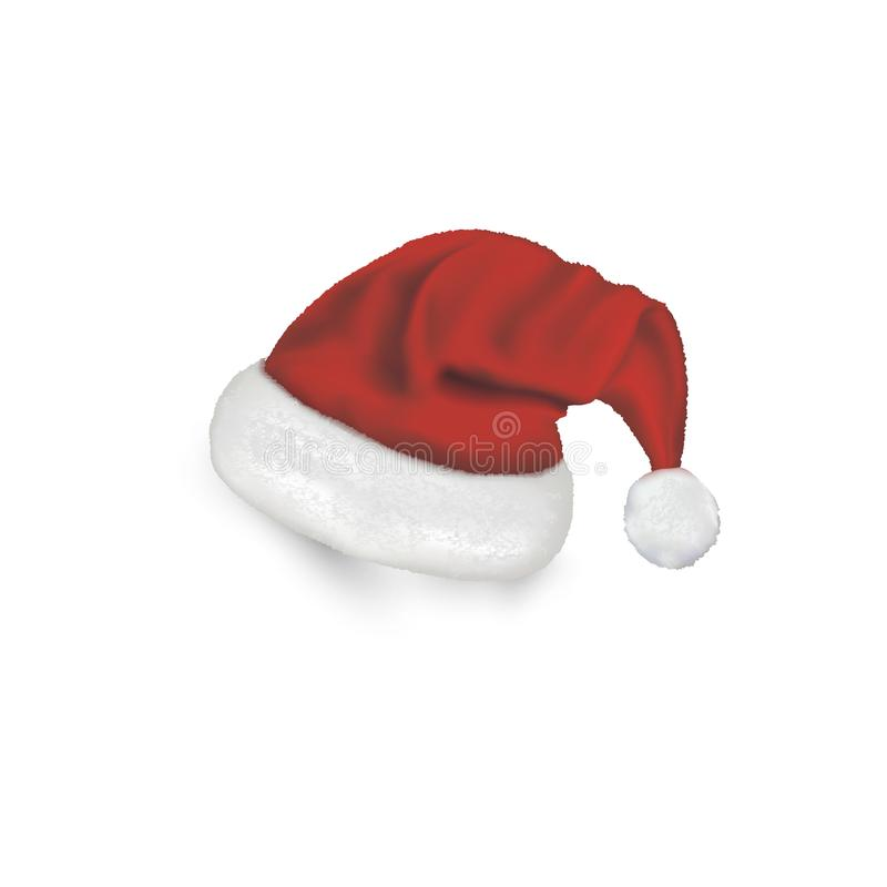 Christmas Santa Claus Hats With Shadow Set. New Year Red Hat Isolated on White Background. Vector illustration. stock illustration