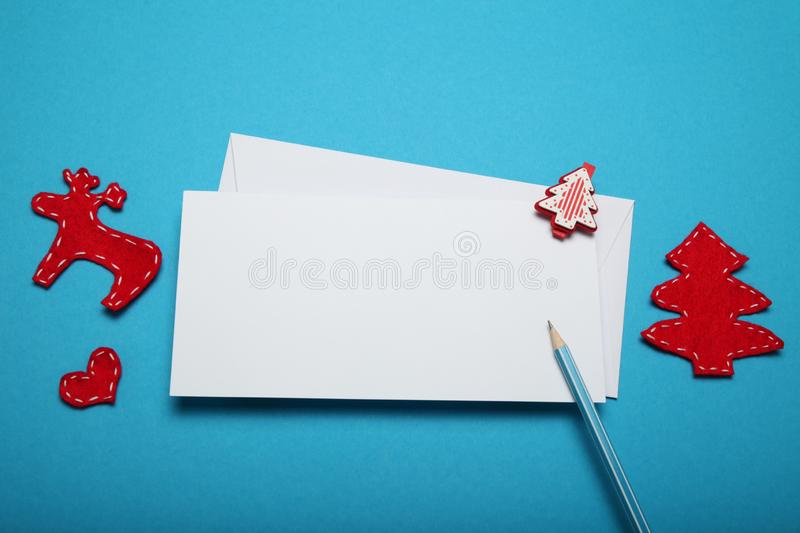 Christmas Santa Claus letter. Blue background. Christmas Santa Claus letter. Blue background royalty free stock images
