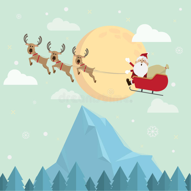 Christmas santa claus and reindeer snow moon vector stock illustration