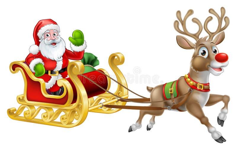 Christmas Santa Claus Sleigh Sled Reindeer. Christmas Santa Claus and his flying sleigh sled and reindeer cartoon vector illustration
