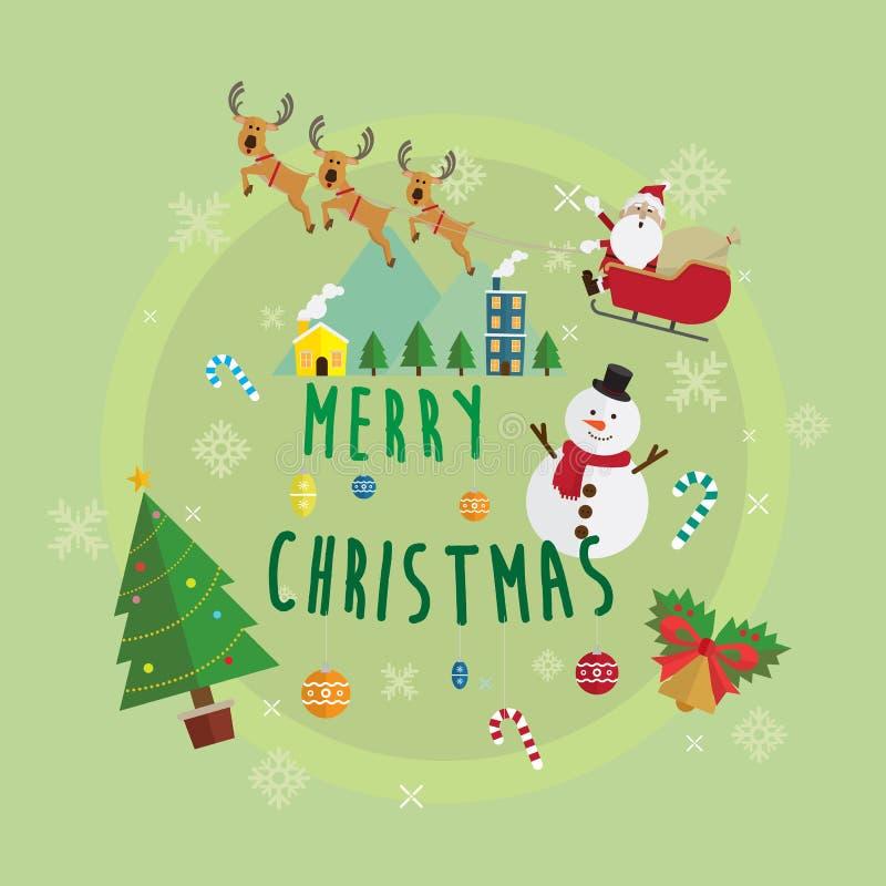 Christmas santa claus and snowman vector stock illustration