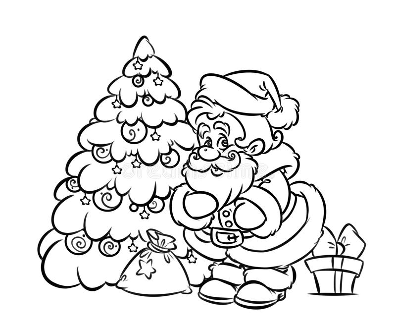Download Christmas Santa Claus Tree Gift Coloring Page Stock Illustration