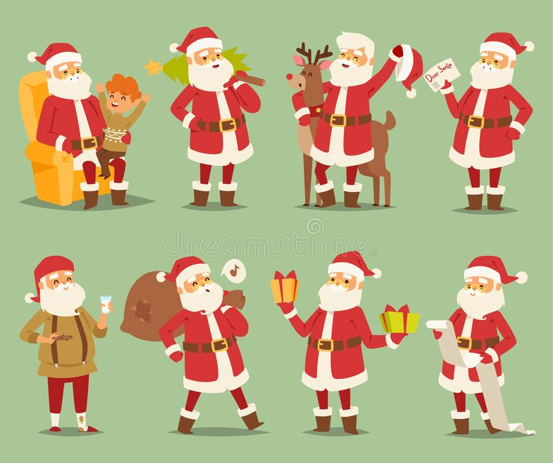Christmas Santa Claus vector character different poses illustration Xmas man red traditional costume and Santa hat stock illustration
