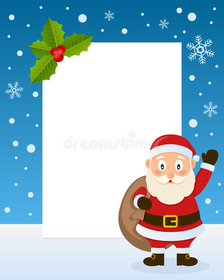 Christmas Santa Claus Vertical Frame. Christmas vertical photo frame with a cute cartoon Santa Claus with the sack of gifts, smiling and greeting on the snow vector illustration