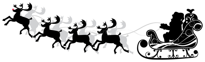 Christmas santa and deers, vector royalty free illustration