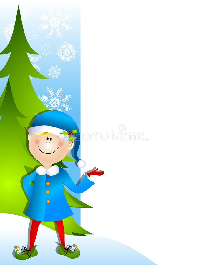 Christmas Santa Elf Border. A clip art illustration of a Christmas Santa elf standing and pointing as if to present something stock illustration