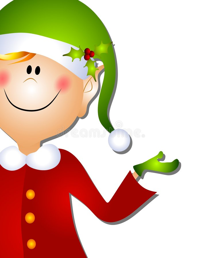 Christmas Santa Elf Clip Art 3. A clip art illustration of a Christmas Santa elf standing and pointing as if to present something royalty free illustration