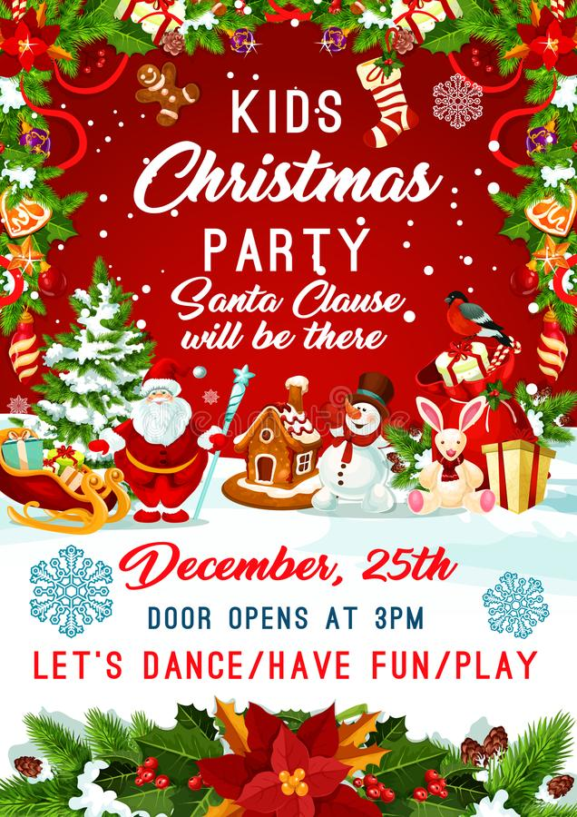 Free Christmas Santa Gifts Tree Party Vector Poster Stock Images - 101936314