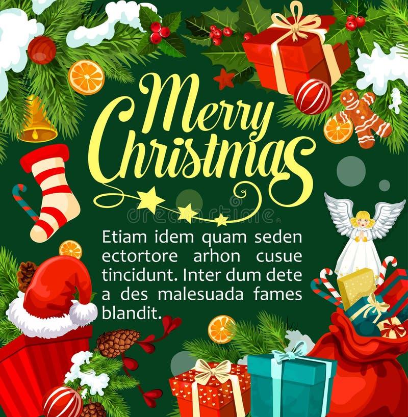 Free Christmas Santa Gifts Vector Greeting Card Stock Image - 104962681