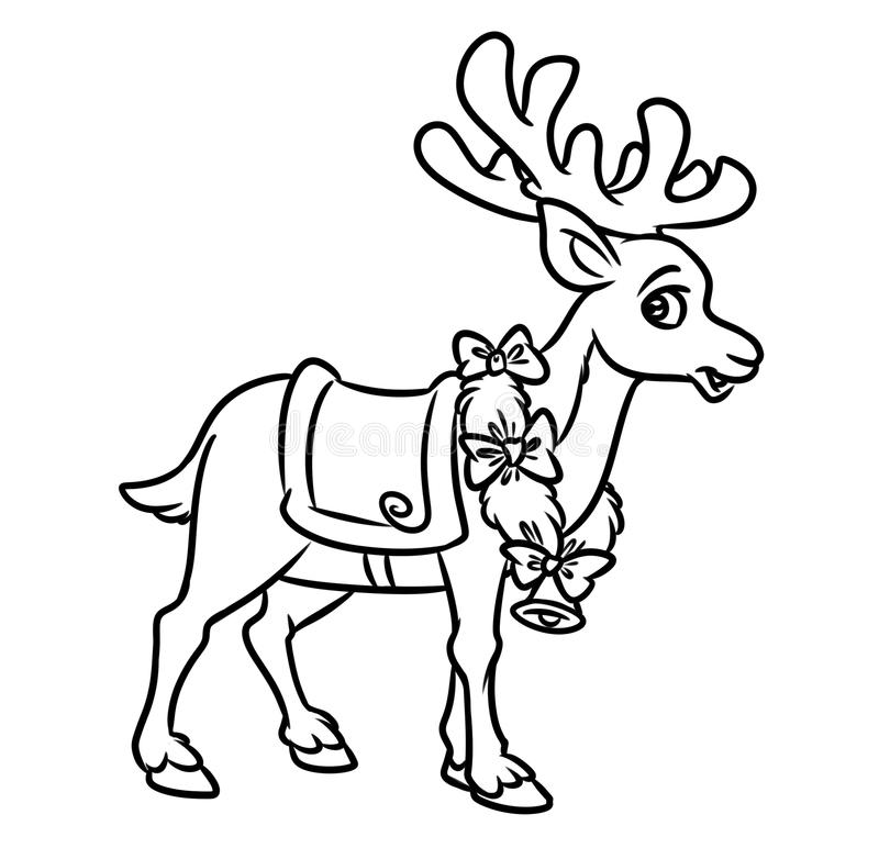 Download Christmas Santa Reindeer Coloring Pages Stock Illustration