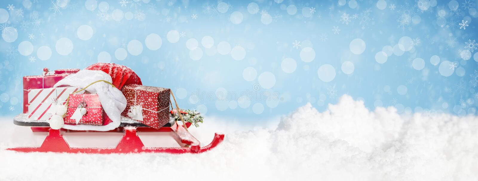 Christmas Santa Sleigh and Gifts Web Banner royalty free stock photos