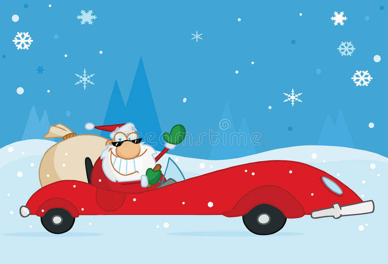 Christmas santa waving from his red sports car. Jolly christmas santa waving and driving his convertible red sports car in the snow vector illustration