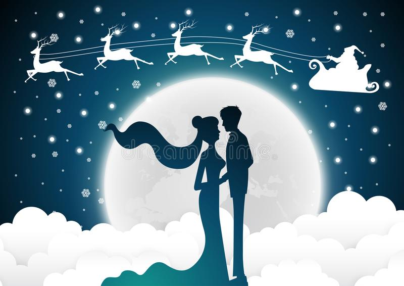 Christmas with santa Wedding invitation card with silhouette bride and groom.full moon background. Vector royalty free illustration