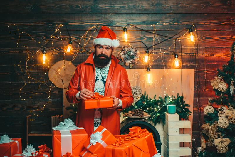 Christmas santa wishes merry christmas. Man new years eve. New year party. Santa Claus wishes Merry Christmas. Santa in stock images