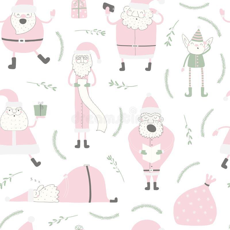Christmas Santas seamless pattern vector illustration