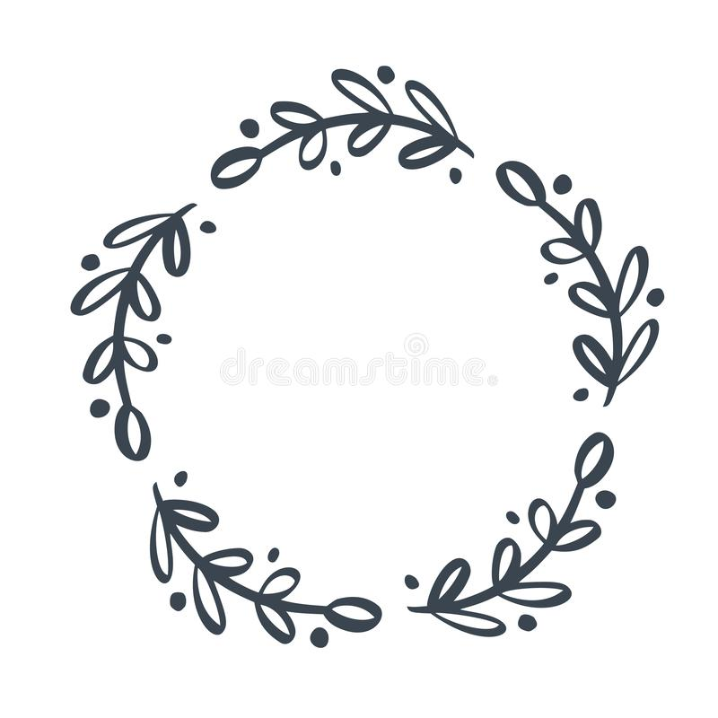Christmas scandinavian Hand Drawn Vector floral wreath with place for your text. Isolated on white background for retro stock illustration