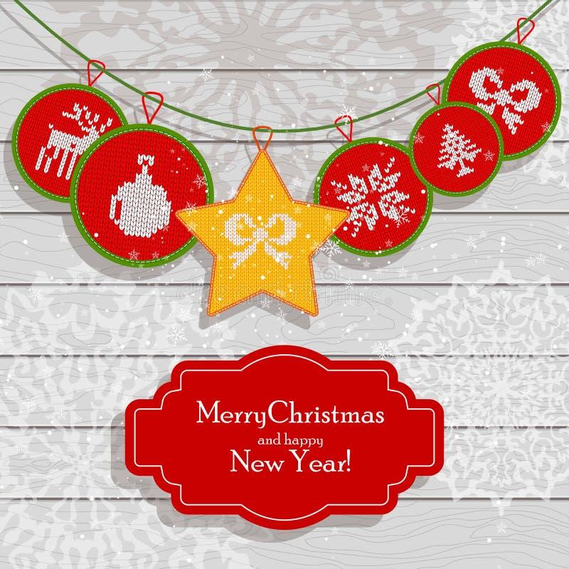 Christmas scandinavian light card red. Christmas card scandinavian style. Flat vector cartoon illustration. Knitted pattern with fair isle ornament on light vector illustration