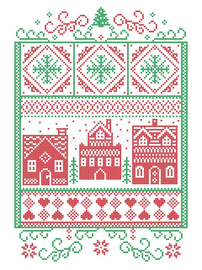 Christmas Scandinavian, Nordic style winter stitching, pattern including snowflake, heart, winter wonderland village, gingerbread. Houses, church, Christmas vector illustration