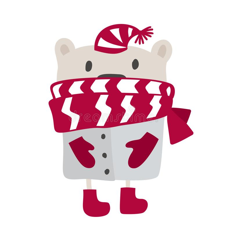 Christmas scandinavian style design. Hand drawn vector illustration of a cute funny winter bear in a muffler, going for stock illustration