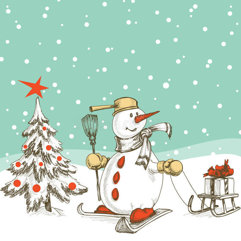 Christmas scene vector illustration