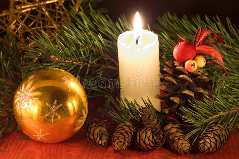 Download Christmas scene stock image. Image of cone, festive, candle - 3357951
