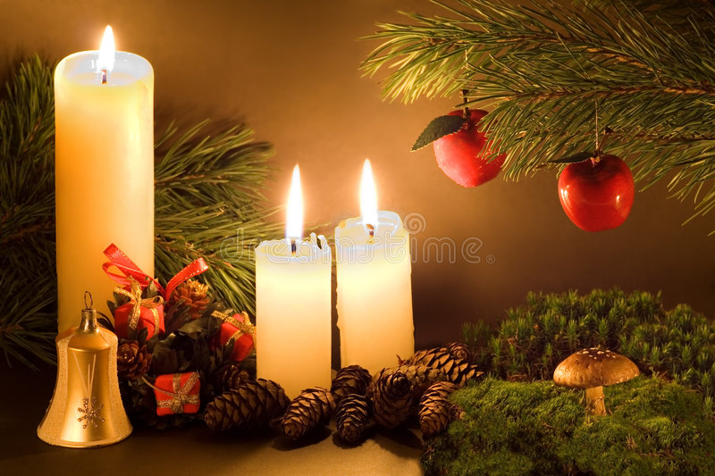 Christmas scene. With white candles, cones, bell and a mushroom in green moss in low light stock photography