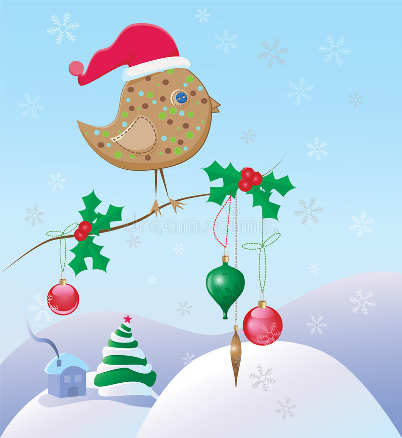 Christmas scene with a bird and ornaments stock illustration
