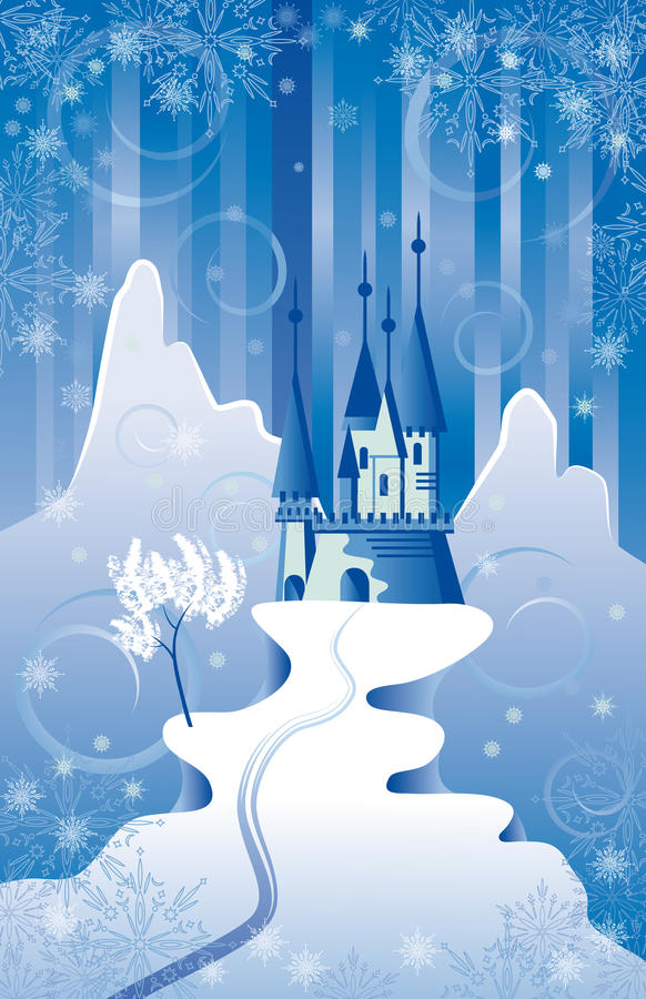 Christmas Scene with Castle royalty free illustration