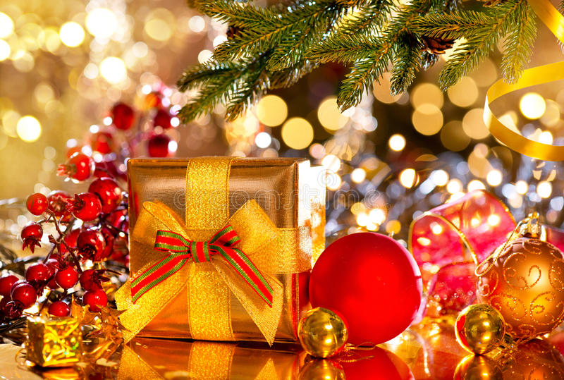 Christmas scene. Gifts under the Christmas tree stock photo