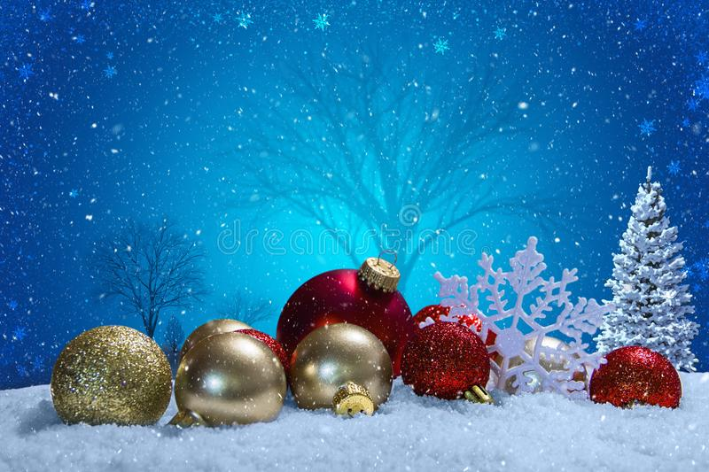 Christmas scene with ornaments and snow stock photos