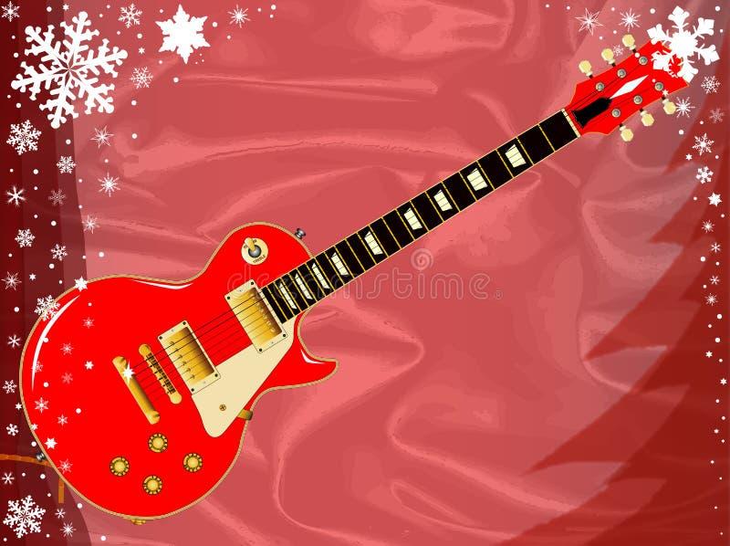 Christmas Card Guitar stock illustration
