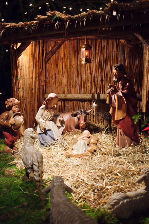 Christmas scene with three Wise Men and baby Jesus stock images