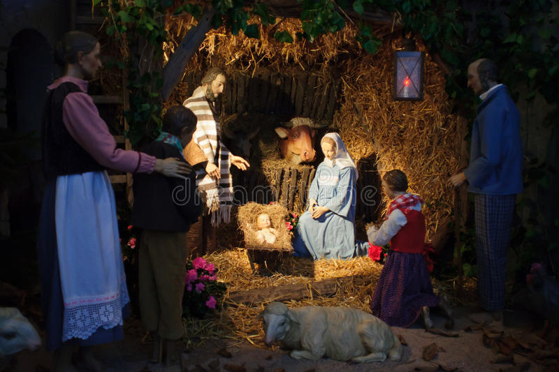 Christmas scene with three Wise Men and baby Jesus stock photography