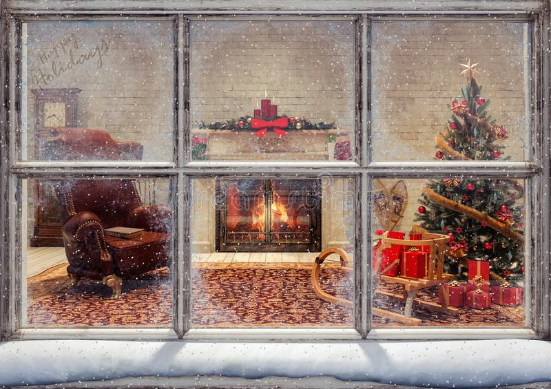Christmas scene through window royalty free illustration