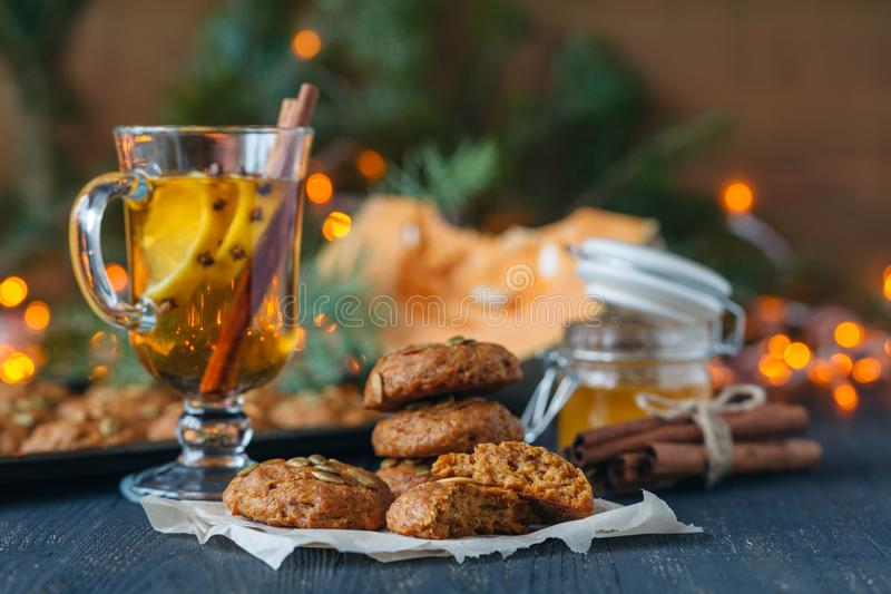 Christmas scenery and entertainments with spices and citruses royalty free stock image