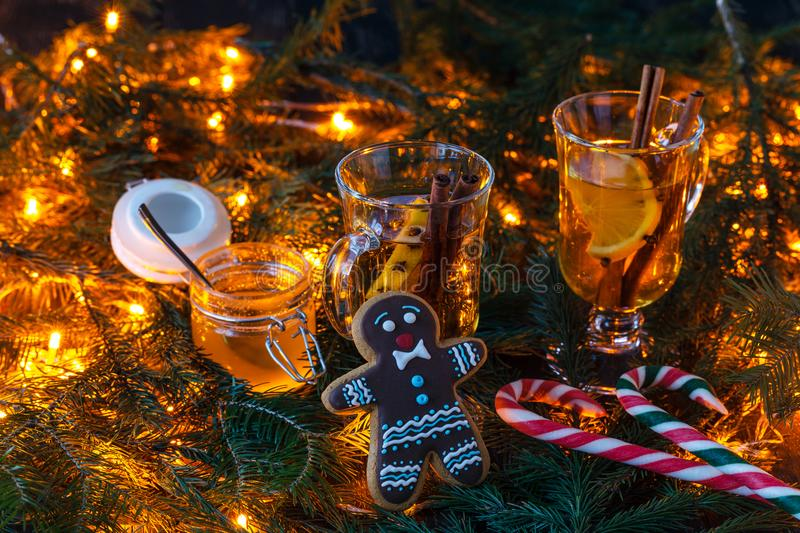 Christmas scenery and entertainments with spices and citruses stock photos