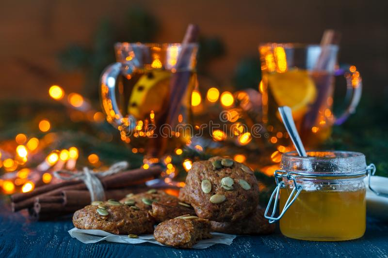 Christmas scenery and entertainments with spices and citruses royalty free stock photos