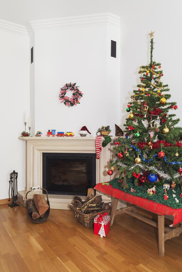 Christmas scenery - Traditional fireplace scene in the Christmas time royalty free stock photos