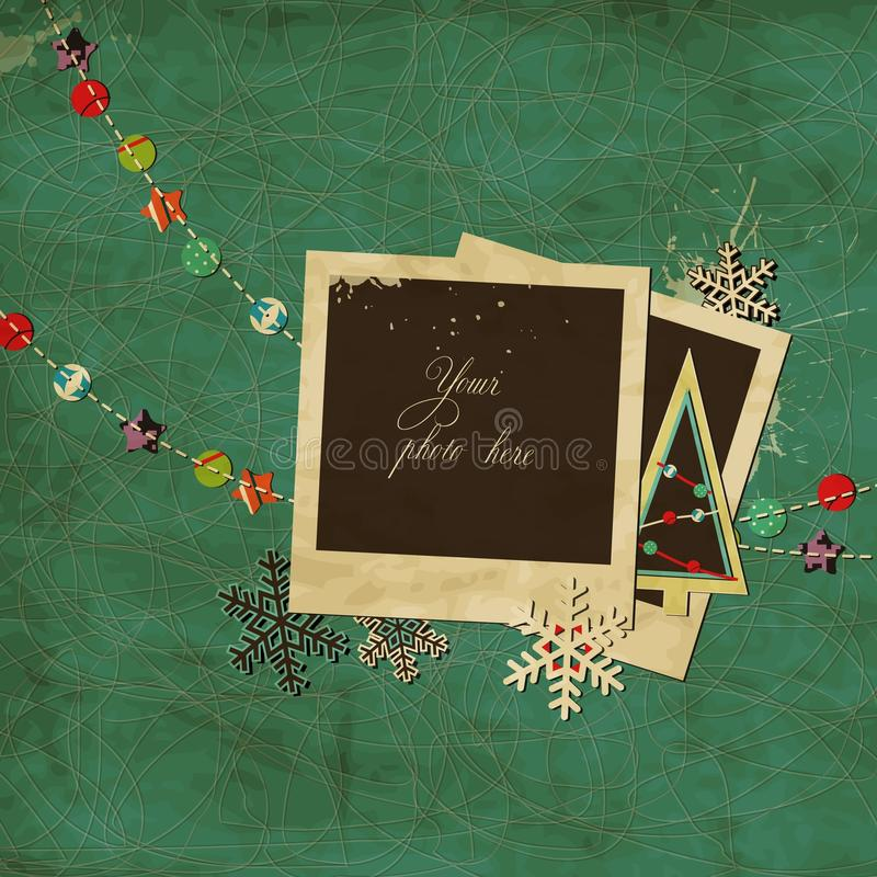 Christmas scrap template. With blank space for your photos or text stock illustration