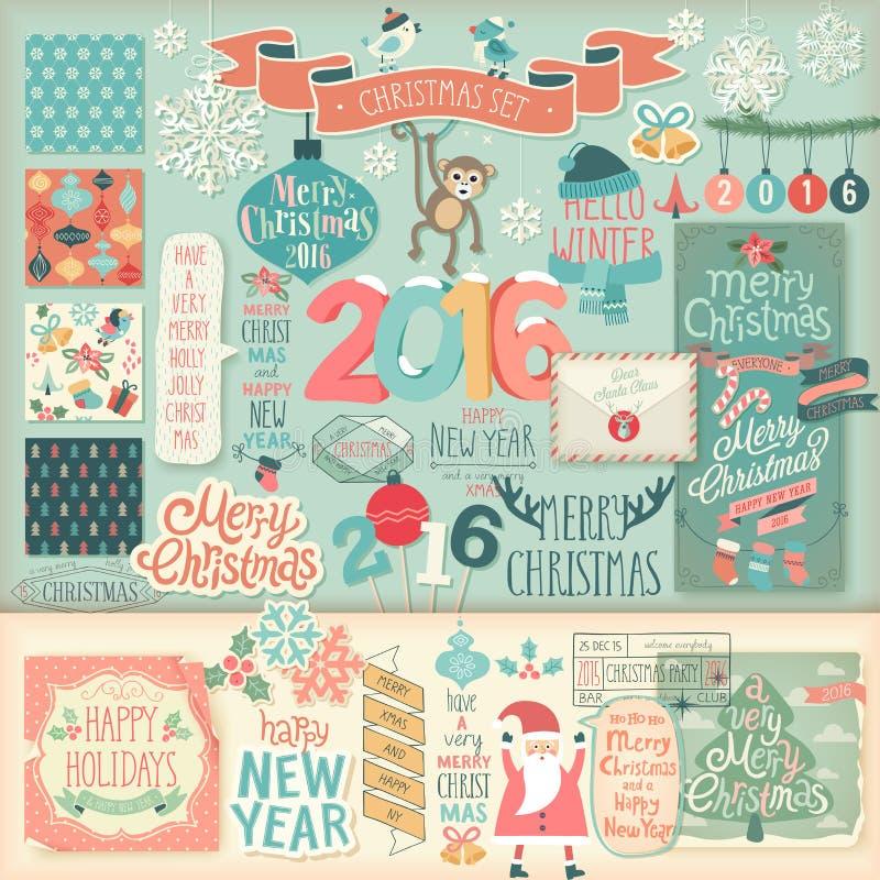 Christmas scrapbook set - decorative elements. vector illustration