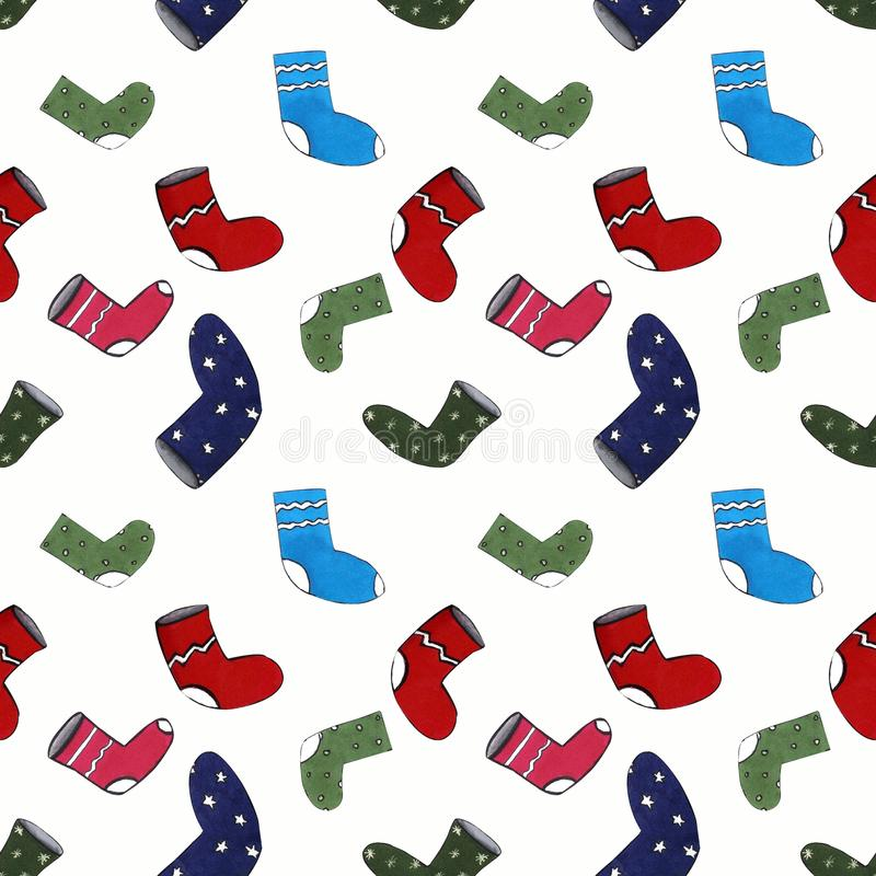 Christmas seamles pattern with socks on white background. Drawing markers. Christmas seamles pattern with socks on white background. Hand draw royalty free illustration
