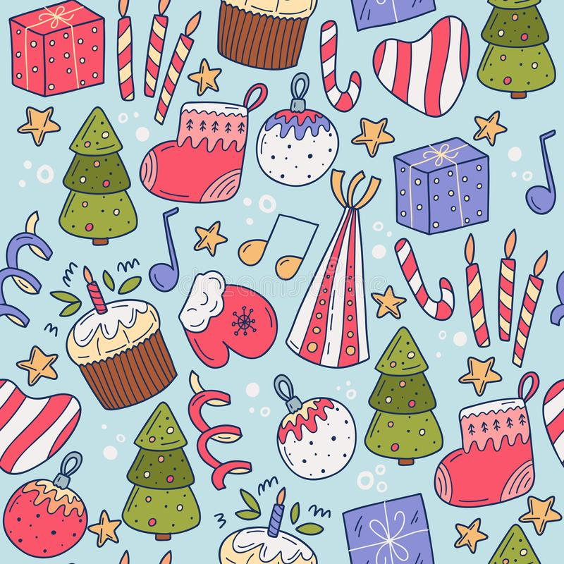Christmas seamles pattern. Suitable for printing on fabric, gift wrapping, wall decoration. Vector cartoon illustration royalty free stock photography