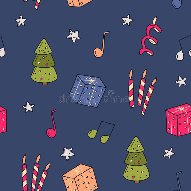 Christmas seamles pattern. Suitable for printing on fabric, gift wrapping, wall decoration. Vector illustration royalty free stock images