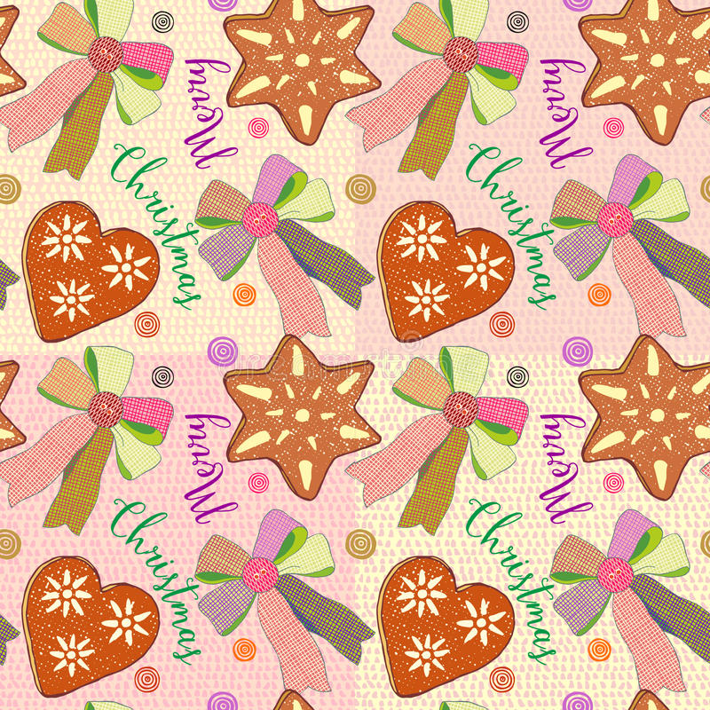 Christmas seamless background with gingerbread, candy shape of hearts and stars, bows and pastries on decorative background royalty free illustration